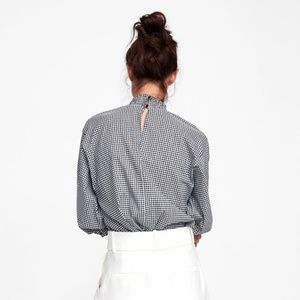 Zara Woman Black Gingham Ruffle Neck Blouse